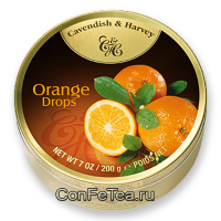 Леденцы #05216, Cavendish & Harvey, 200г «Апельсин», Orange Drops