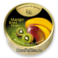 Леденцы #05215, Cavendish & Harvey, 200г «Манго и киви», Mango Kiwi Drops